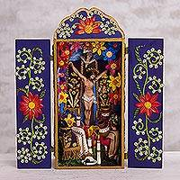 Ceramic and wood retablo, 'Passion of Jesus' - Ceramic and Wood Christian Retablo from Peru
