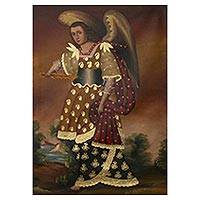 'Archangel Uriel' - Colonial Replica Painting of the Archangel Uriel from Peru