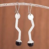 Onyx dangle earrings, 'Dark Tails' - Modern Onyx Dangle Earrings from Peru