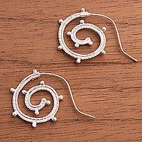 Sterling silver half-hoop earrings, 'Dotted Curls' - Sterling Silver Spiral Half-Hoop Earrings from Peru