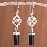 Obsidian dangle earrings, 'Sweet Whisper' - Obsidian Dangle Earrings Crafted in Peru