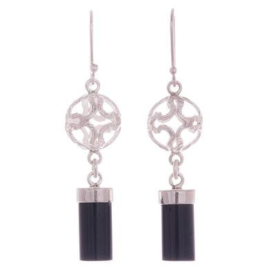 Obsidian dangle earrings, 'Sweet Whisper' - Obsidian Dangle Earrings Crafted in Peru