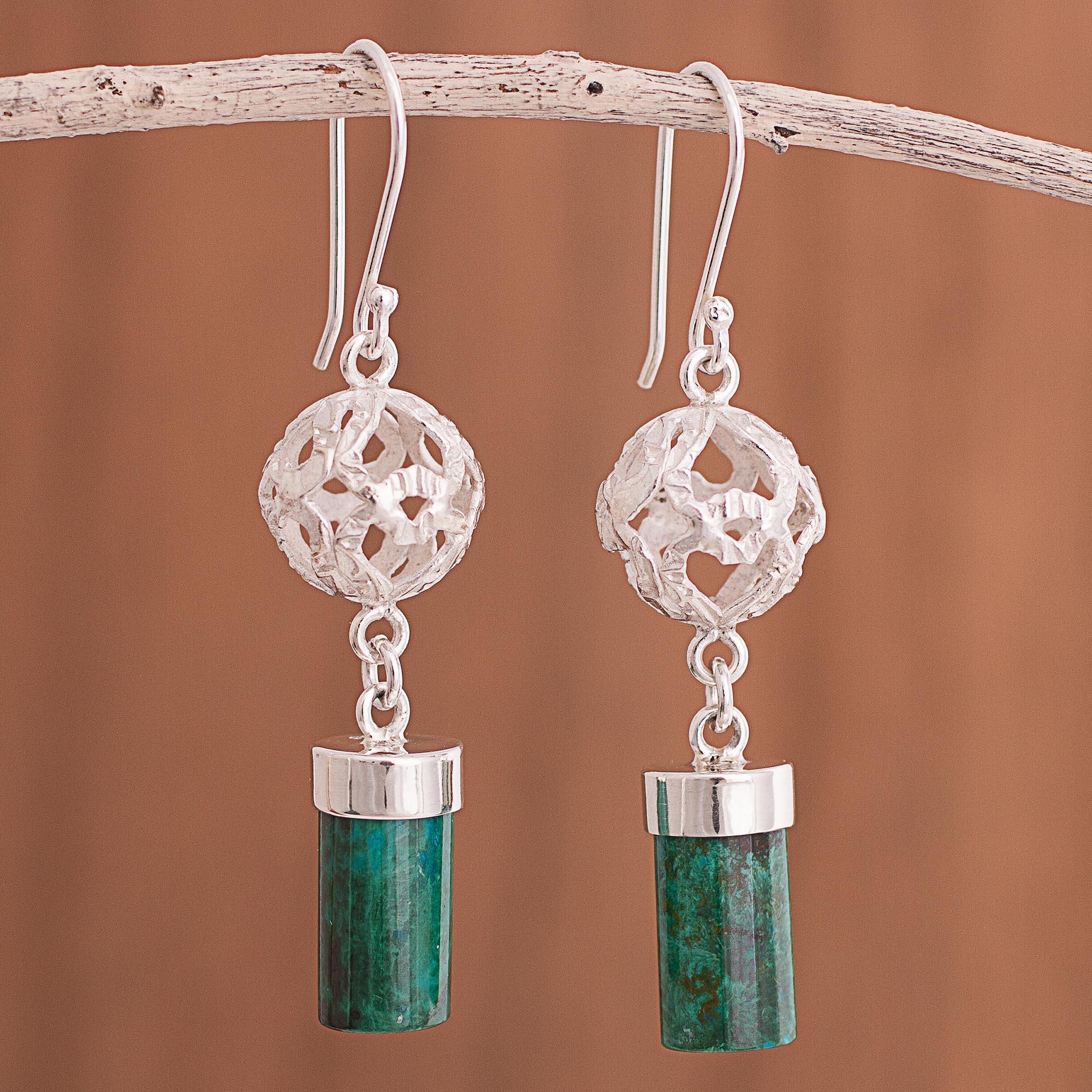 Chrysocolla Dangle Earrings Crafted In Peru Sweet Whisper