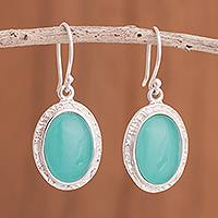 Opal dangle earrings, 'Blue Mirrors' - Blue Opal Dangle Earrings from Peru