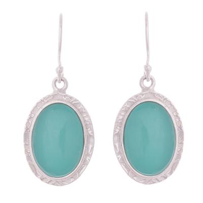Opal dangle earrings, 'Blue Mirrors' - Blue Opal Dangle Earrings from Peru