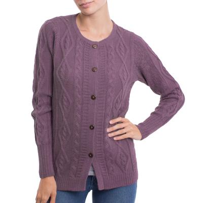 100% alpaca cardigan, 'Dusty Lilac Pattern' - Knit 100% Alpaca Cardigan in Dusty Lilac from Peru