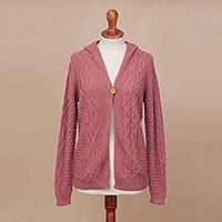 100% alpaca hooded cardigan, 'Sweet Carnation'