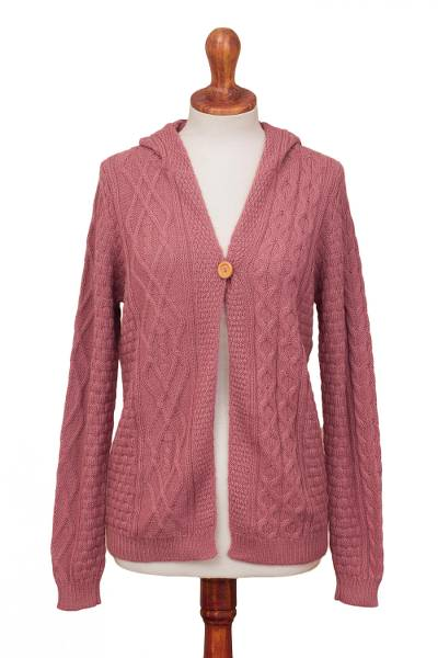 100% alpaca hooded cardigan, 'Sweet Carnation' - Knit 100% Alpaca Cardigan in Carnation from Peru