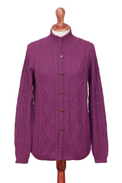 100% alpaca cardigan, 'Magenta Style' - Knit 100% Alpaca Cardigan in Magenta from Peru