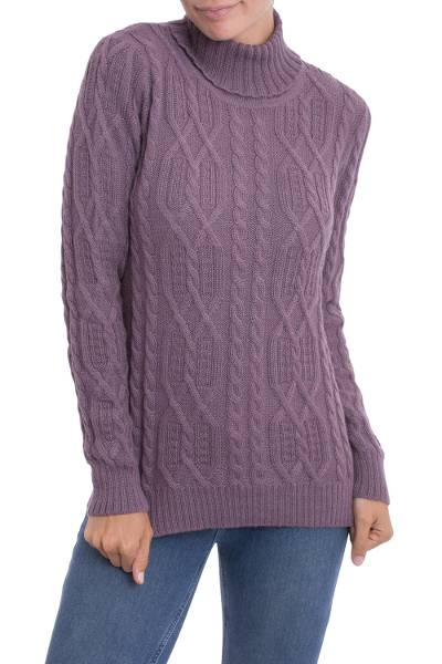 100% alpaca pullover, 'Dusty Lilac Charm' - Knit 100% Alpaca Pullover in Dusty Lilac from Peru