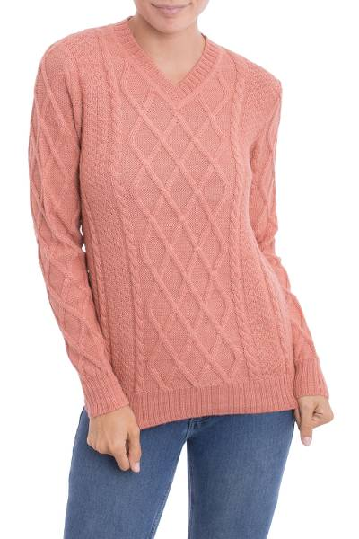 100% alpaca pullover, 'Peach Diamonds' - Knit 100% Alpaca Pullover in Peach from Peru