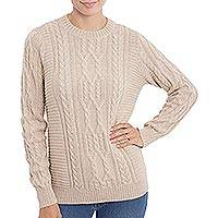 100% alpaca pullover, 'Lovely Vanilla' - Knit 100% Alpaca Pullover in Vanilla from Peru