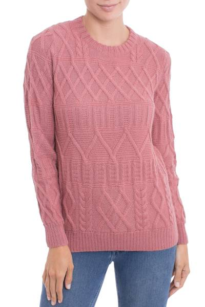 100% alpaca pullover, 'Carnation Pattern' - Knit 100% Alpaca Pullover in Carnation from Peru