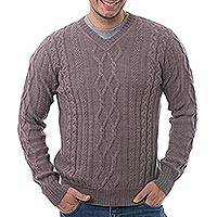 Men's 100% alpaca pullover, 'Dusty Lavender Style' - Men's Knit 100% Alpaca Pullover in Dusty Lavender from Peru