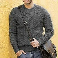 Men's 100% alpaca pullover, 'Moss Ropes' - Men's Knit 100% Alpaca Pullover in Moss from Peru