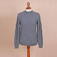 100% alpaca sweater, 'Peruvian Smoke' - 100% Alpaca Pullover Sweater in Smoke from Peru