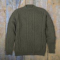 100% alpaca sweater, 'Sage Diamonds' - 100% Alpaca Pullover Sweater in Sage from Peru