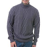 Men's 100% alpaca pullover, 'Slate Pattern' - Men's Knit 100% Alpaca Pullover in Slate from Peru