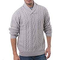 Men's 100% alpaca pullover, 'Pearl Grey Style' - Men's Knit 100% Alpaca Pullover in Pearl Grey from Peru