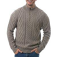 Men's 100% alpaca pullover, 'Taupe Fashion' - Men's Knit 100% Alpaca Pullover in Taupe from Peru