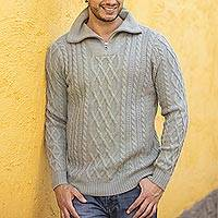 Men's 100% alpaca pullover, 'Laurel Knit' - Men's Knit 100% Alpaca Pullover in Laurel from Peru