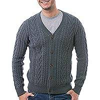 Men's 100% alpaca cardigan, 'Chevron Link' - Men's Knit 100% Alpaca Cardigan in Elephant Grey from Peru