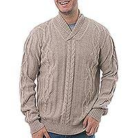 Men's 100% alpaca pullover, 'Vanilla Pattern' - Men's Knit 100% Alpaca Pullover in Vanilla from Peru