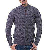 Men's 100% alpaca pullover, 'Striking Pattern' - Men's Knit 100% Alpaca Pullover in Cadet Blue from Peru