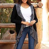 Alpaca blend cardigan, 'Billowing Smoke' - Alpaca Blend Open Cardigan in Smoke and Black from Peru