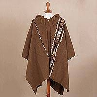 Men's Alpaca and wool hooded poncho, 'Chestnut Mountains' - Handwoven Alpaca and Wool Blend Poncho from Peru
