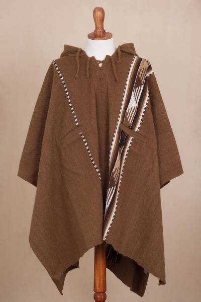 Alpaca and wool blend poncho, 'Chestnut Mountains' - Handwoven Alpaca and Wool Blend Poncho from Peru