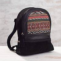 Suede and alpaca backpack, 'Natural Paths' - Black Suede and 100% Alpaca Backpack from Peru