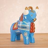 Ceramic figurine, 'Festive Pucara Bull in Blue' - Cream-Hued Ceramic Pucara Bull Figurine from Peru