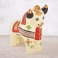 Ceramic figurine, 'Festive Pucara Bull in Cream' - Cream-Hued Ceramic Pucara Bull Figurine from Peru