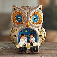 Ceramic nativity sculpture, 'Celebration Within the Owl' - Owl-Themed Ceramic Nativity Scene Sculpture from Peru