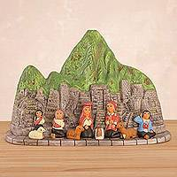 Ceramic nativity sculpture, 'Festivity in Machu Picchu' - Ceramic Nativity Scene Sculpture of Machu Picchu from Peru