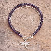 Amethyst beaded bracelet, 'Dragonfly Charm' - Amethyst Beaded Dragonfly Bracelet from Peru