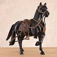 Cedar wood sculpture, 'Peruvian Paso Horse' (11.5 inch) - Cedar Wood and Leather Horse Sculpture from Peru (11.5 in.)