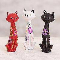 Ceramic figurines, 'Colorful Kittens' (set of 3) - Hand-Painted Ceramic Cat Figurines from Peru (Set of 3)
