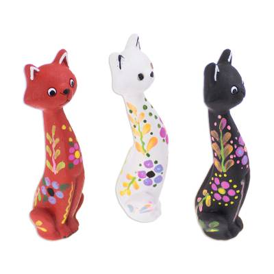 Hand-Painted Ceramic Cat Figurines from Peru (Set of 3)