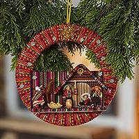 Fabric ornament, 'Happiness in the Andes' - Fabric Nativity Scene Ornament Handcrafted in Peru