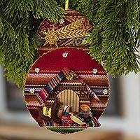 Fabric ornament, 'Nativity in the Andes' - Handmade Fabric Nativity Scene Ornament from Peru