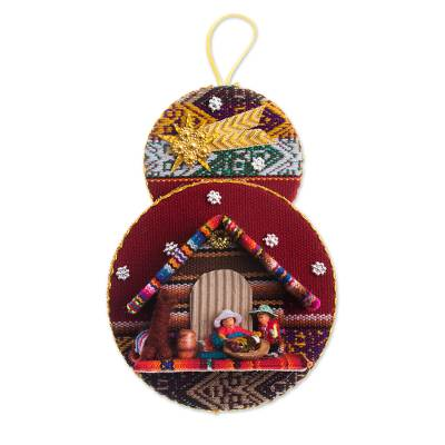 Handmade Fabric Nativity Scene Ornament from Peru
