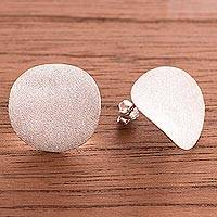 Sterling silver button earrings, 'Moon Glitter' - Modern Sandblasted Sterling Silver Button Earrings from Peru