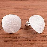 Sterling silver button earrings, 'Relaxing Moons' - Modern Combination Finish Sterling Silver Earrings from Peru