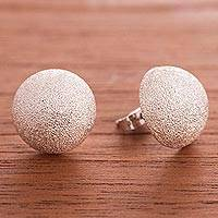Sterling silver button earrings, 'Round Moon Glitter' - Round Sandblasted Sterling Silver Button Earrings from Peru