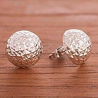 Sterling silver button earrings, 'Dazzling Full Moon' - Modern Round Sterling Silver Button Earrings from Peru