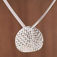 Sterling silver pendant necklace, 'Dazzling Moon' - Modern Sterling Silver Pendant Necklace from Peru