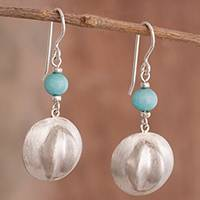 Amazonite dangle earrings, 'Handsome Hats' - Amazonite Dangle Earrings Crafted in Peru