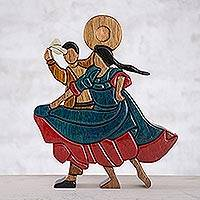 Wood sculpture, 'Dance and Flirt' - Wood Sculpture of a Dancing Couple from Peru